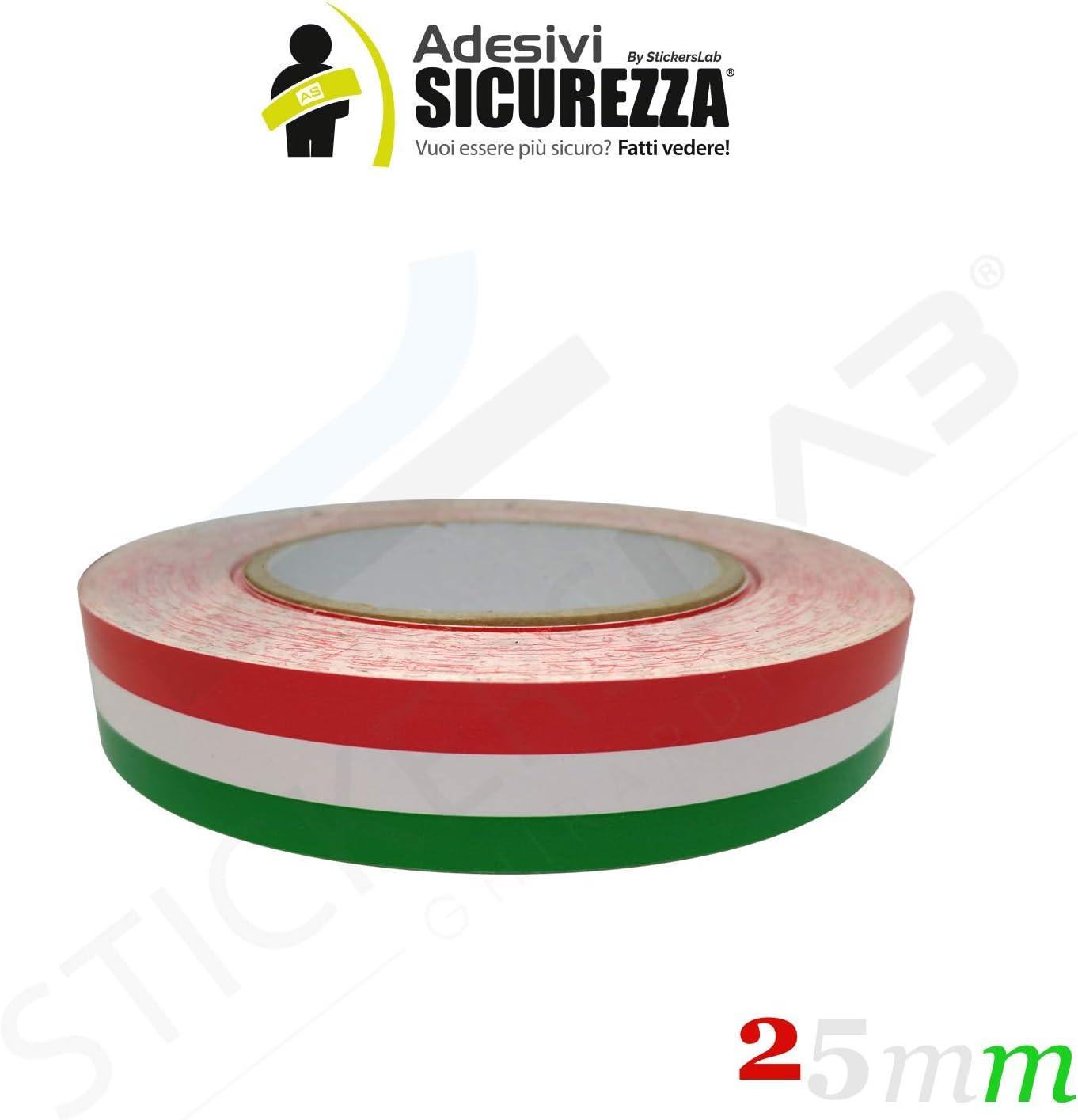 StickersLab Cinta adhesiva tricolor con la bandera de Italia, a rayas, en 4 medidas 2,5cm, Lunghezza - 1 metro: Amazon.es: Coche y moto