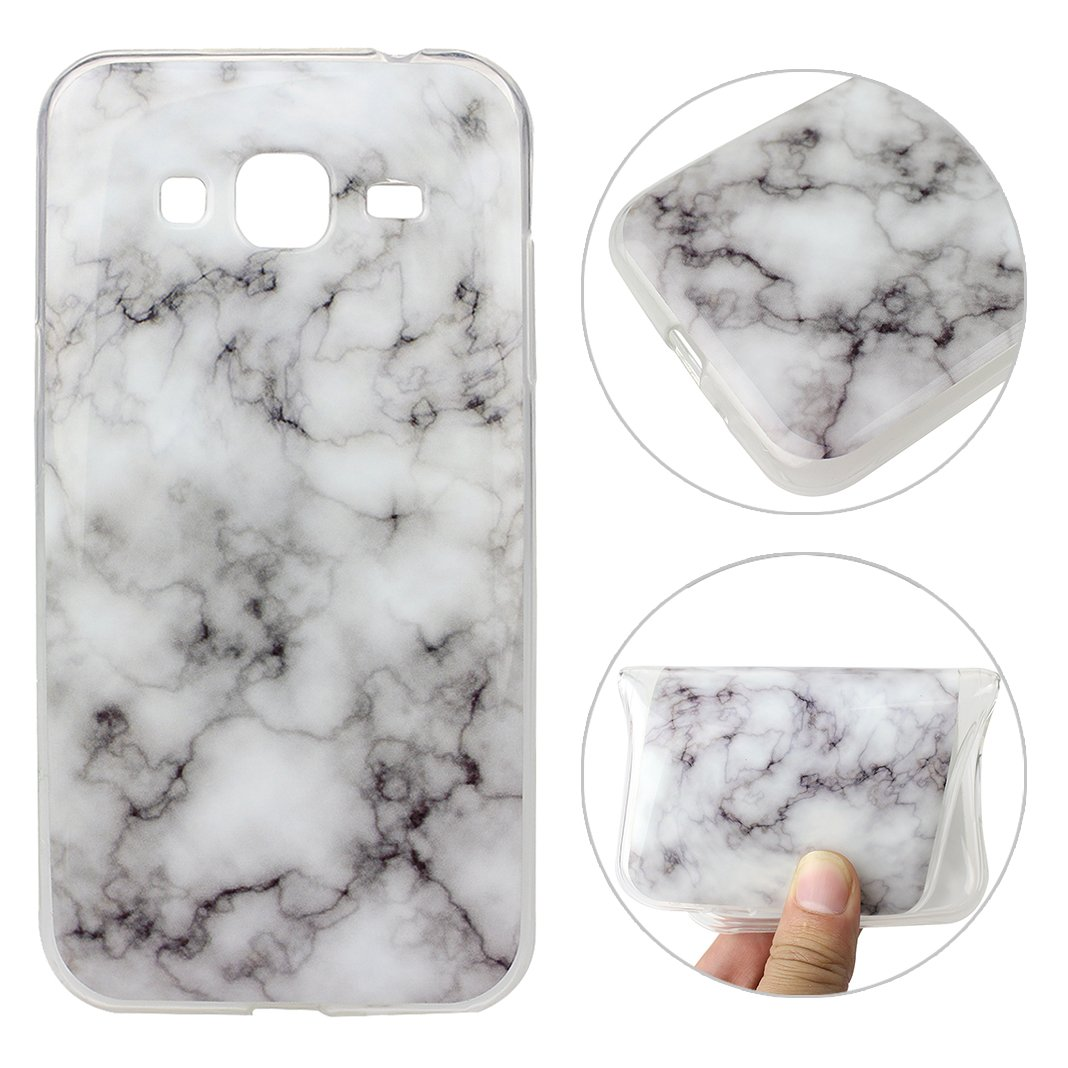 Galaxy J3 2015 Cover, Galaxy J3 2016 Custodia, Moon mood Ultra-Slim Soft Gel TPU Silicone Cover Colorful Marble Texture Case Bumper Skin Scratch Resistant Posteriore Morbido Caso Custodia Cover per Samsung Galaxy J310 / J3 2015 2016
