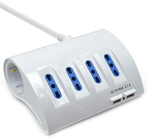 Blanco//Verte output 2.4A Cable Alargador con 2 puertos USB 1.5 Mt Electraline Gummy Line 500342