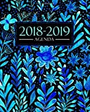 Agenda 2018-2019: 1 settembre 2018 al 31 agosto 2019: 19x23cm: Agenda 2018-2019 settimanale italiano: Bellissimi fiori blu ad acquerello