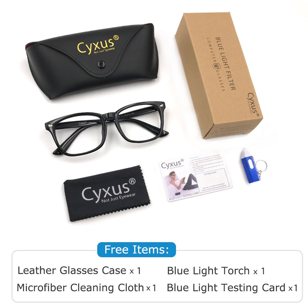 Cyxus Blue Light Filter Computer Glasses for Blocking UV Headache [Anti Eye Eyestrain] Transparent Lens, Unisex (Men/Women) (classic black) by Cyxus (Image #7)