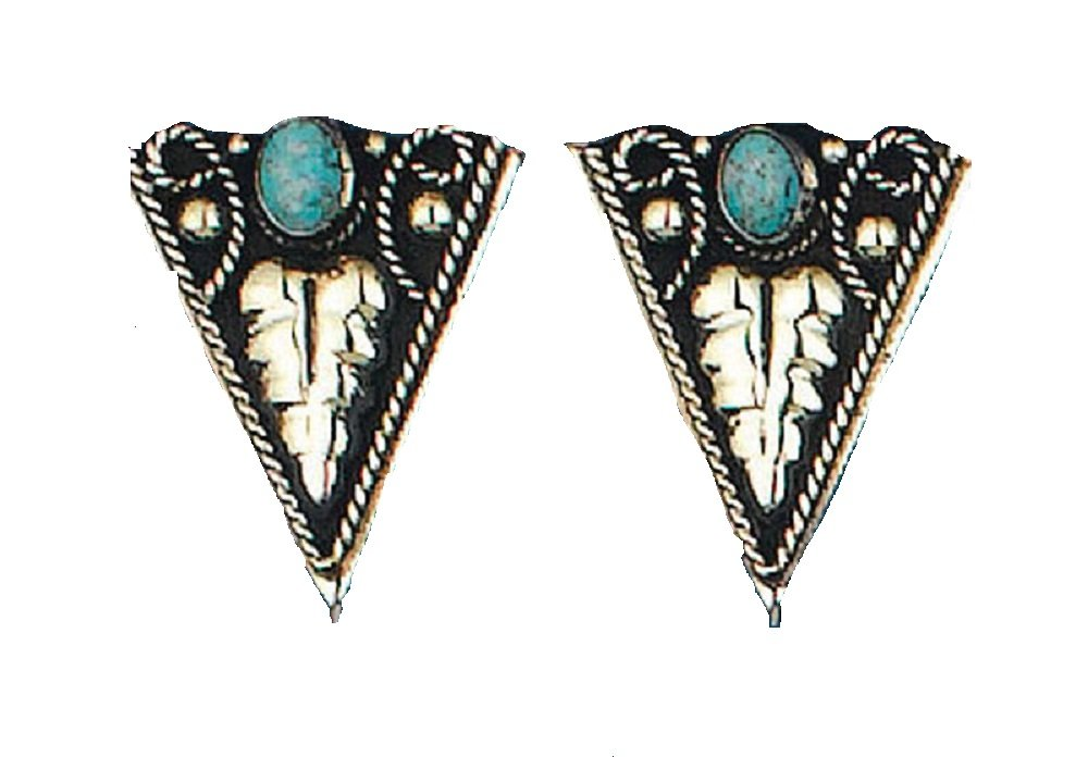 German Silver Turquoise Collar Tips Screw On