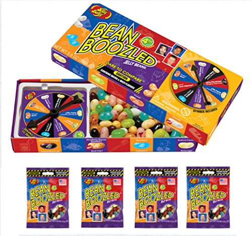 Jelly Belly 3.5 oz BeanBoozled Spinner Wheel Game Jelly Bean Gift Box with 4 - 1.9 oz BeanBoozled Jelly Bean Refills (Party Pack) ()