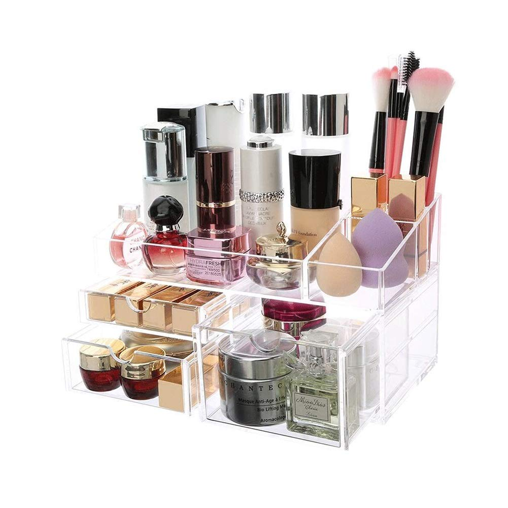 DDPGOFMB Cosmetic Organizer Cosmetic Organizers Desktop Storage Box for Cosmetics Lipstick Rack Dressing Table Skin Care Products Finishing Drawer Type Shelves (Color : -, Size : -)