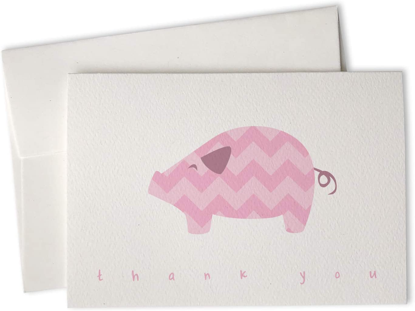 Pink Chevron Pig Baby Thank You Cards – 24 Cards Envelopes