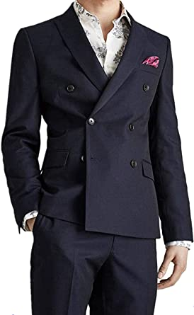Suxiaoxi Mens 2019 Fashion Slim Fit Double Breasted Tuxedo Suits At