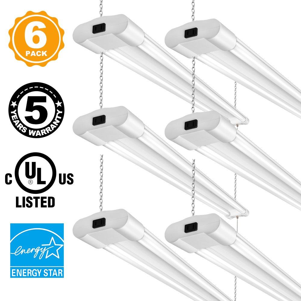 Linkable 40W 4FT LED Utility Shop Lights for Garage BBOUNDER 4000 Lumen 5000K Daylight Super Bright Utility Light Fixture Hanging Mounting Light for Warehouse Basement Garage Workbench (6 pack)