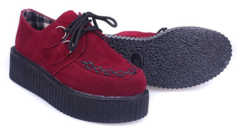 Wealsex Damen Plateau Schuhe Low Top Sneaker Gothic Punk Creepers Schuhe(Rot,39)