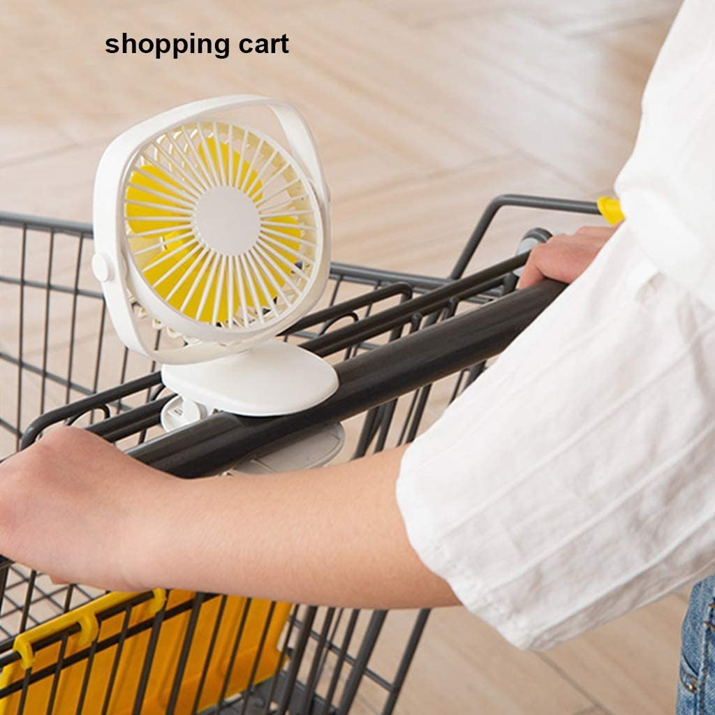 3 Speed 360/° Adjustable 2000mA Personal Fan for Laptop Table Home Office Baby Carriage Bedside Kitchen Shopping Cart,Black LLCOFFGA Clip Fan USB Mini Portable Quiet Fan