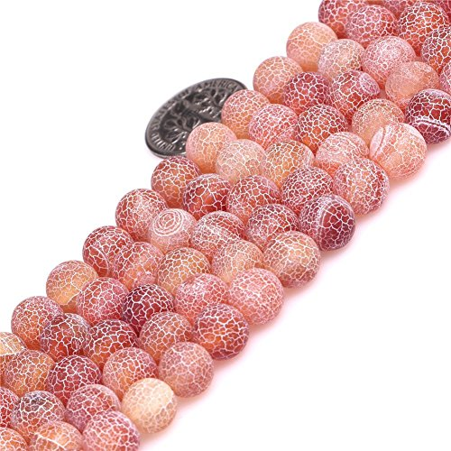 8mm Red Frosted Crackle Dragon Vein Agate Beads Round Semi Precious Gemstone Loose Beads for Jewelry Making (47-50pcs/strand)