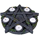 Nemesis Now Wiccan Pentagram - Portavelas (25,5 cm), Color Negro