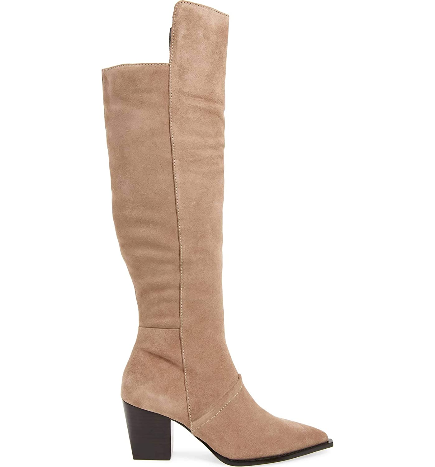 5ab65839a009 Amazon.com | Lust For Life Tania Knee High Boot Taupe Leather Block Heel  Designer Dress Boots | Knee-High