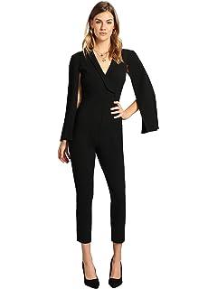 67513c99bfa0 Romwe Women s Elegant Plunging Neck Cloak Sleeve Solid Color Party Jumpsuit  Romper