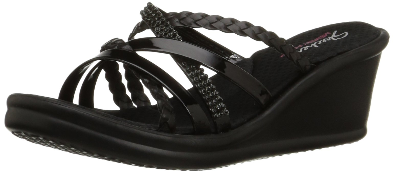 Skechers Cali Women's Rumblers Wild Child-Social Butterfly Wedge Sandal,black Rhinestone,8.5 M US
