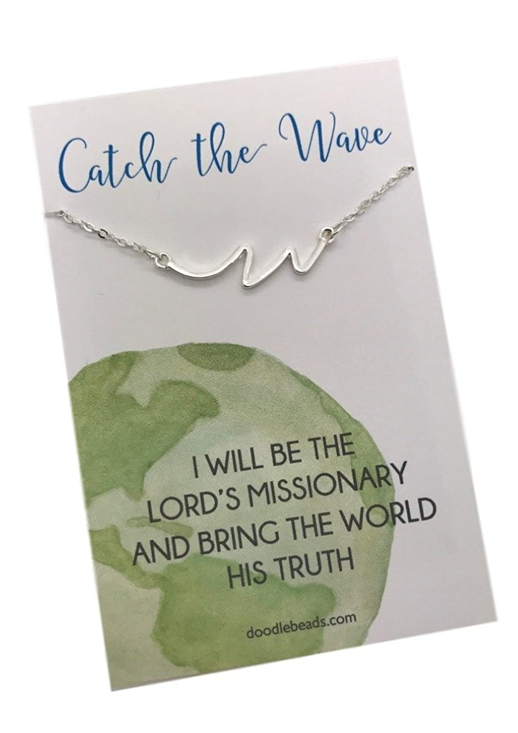 """Wave Necklace Silver, Sister Missionary Necklace, """"Catch the Wave"""" necklace on a 16""""-18"""" Adjustable Chain"""
