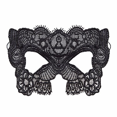 Mardi Gras Party Masquerade Mask,Children Festival Makeup Dance Sexy Black lace mask Tiara Party Fun Hollow Adult Female Half face Eye mask cat face Prom Masks ()