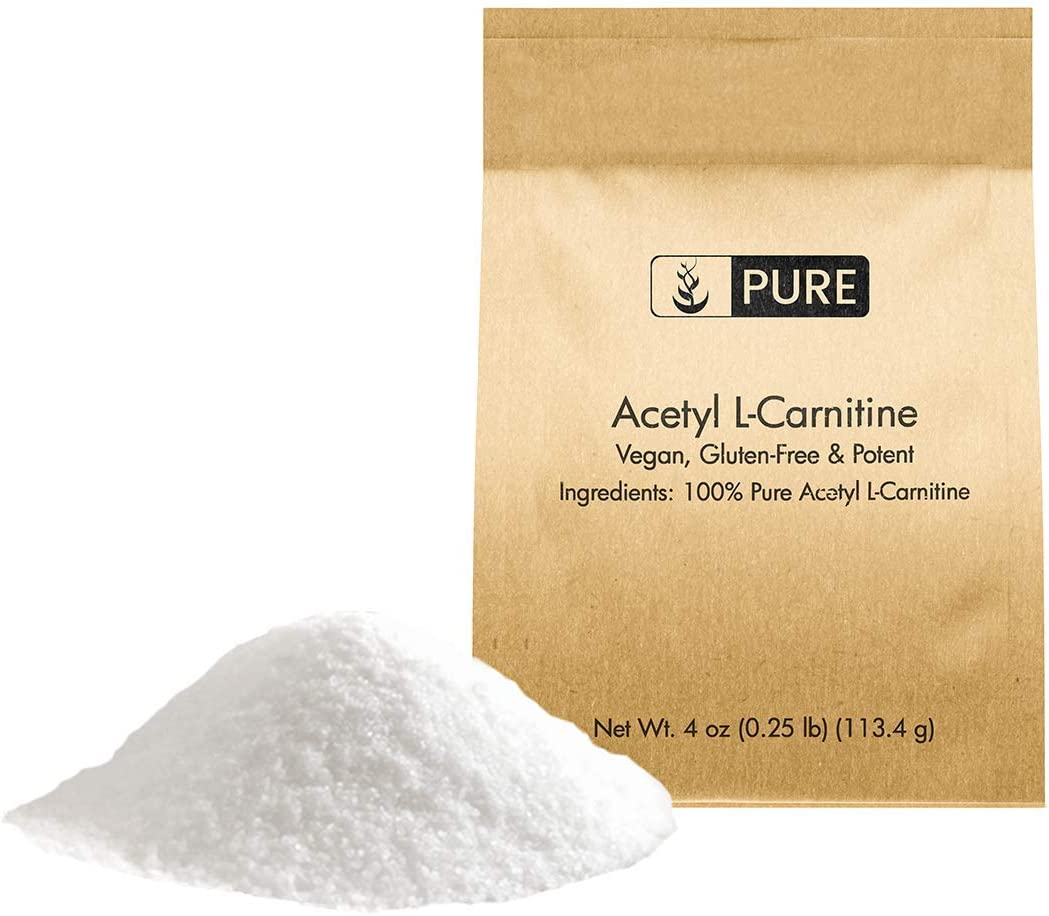 100 Pure Acetyl L-Carnitine Powder, 4 oz, 600 mg per Serving, No Filler, Vegan, Made in The US, High Potency, Gluten-Free, No Additives, Non-GMO, Convenient Eco-Friendly Packaging