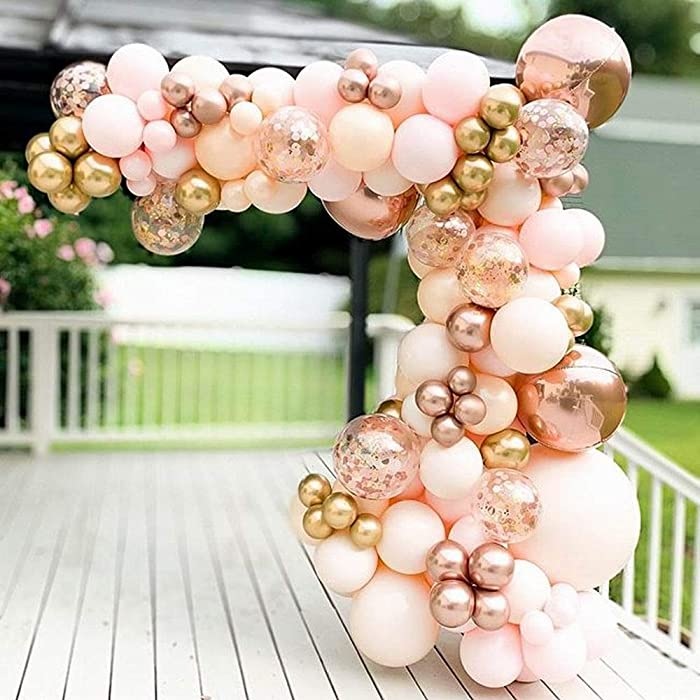 134pcs Macaron Orange Balloon Garland Arch Kit Metallic Chrome Ballons with 4D Globos and Rose Gold Confetti Latex Balloon Wedding Birthday Party Decor Baby Shower (Gold Pink Rose Gold)