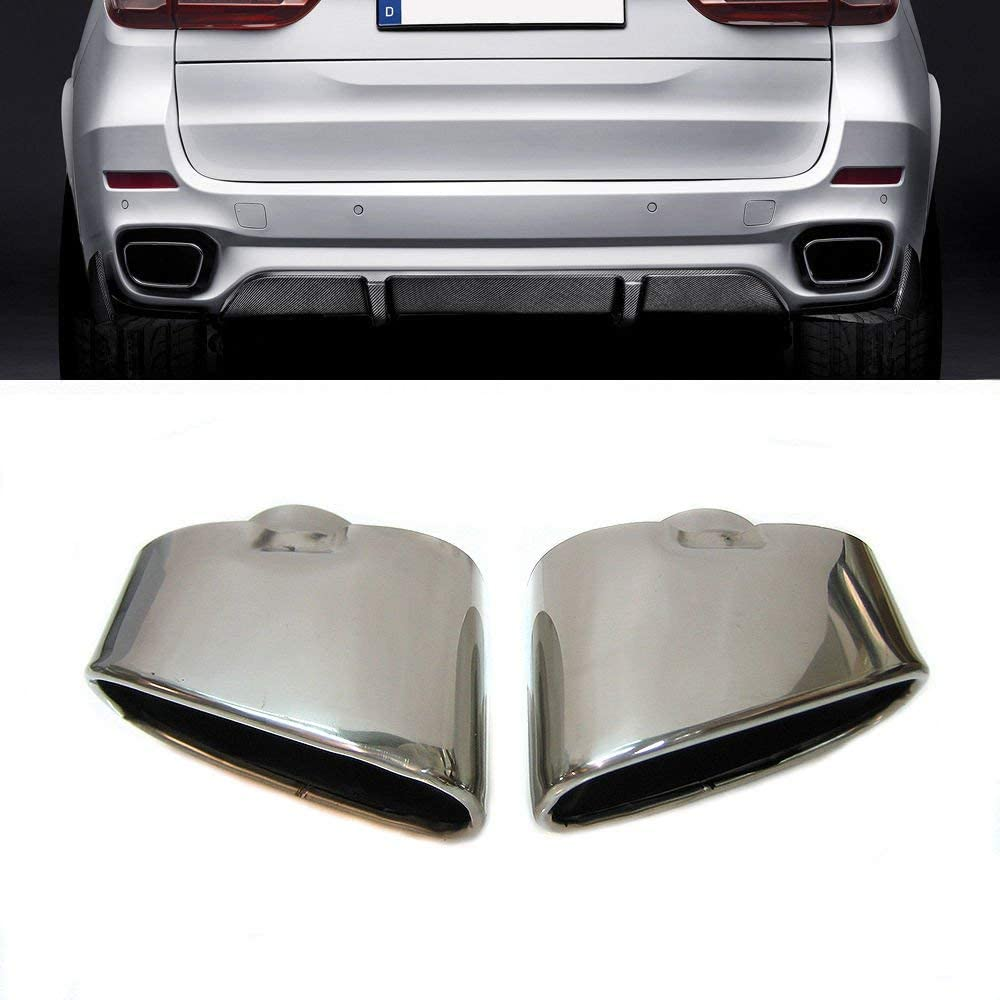Boloromo HJ-X5 Exhaust Muffler Car Tips End Pipes Chrome Twin Double Stainless Steel Set of two Compatible With X5 E70