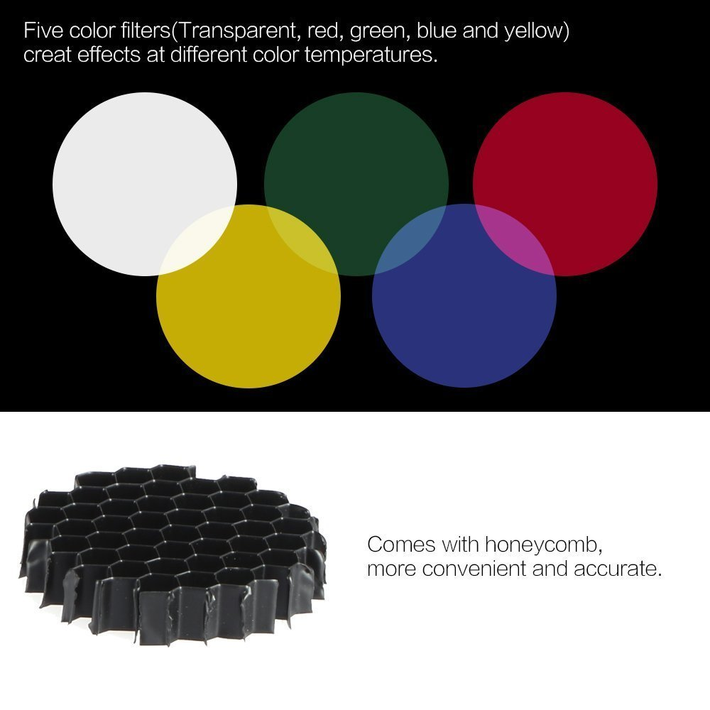 SUPON Metal Body Photo Conical Studio Snoot with Honeycomb Grid 5pcs Color Filter Kit for Bowens Mount Strobe Flash Speedlight Photography Light Modifier Ideal Moonlights