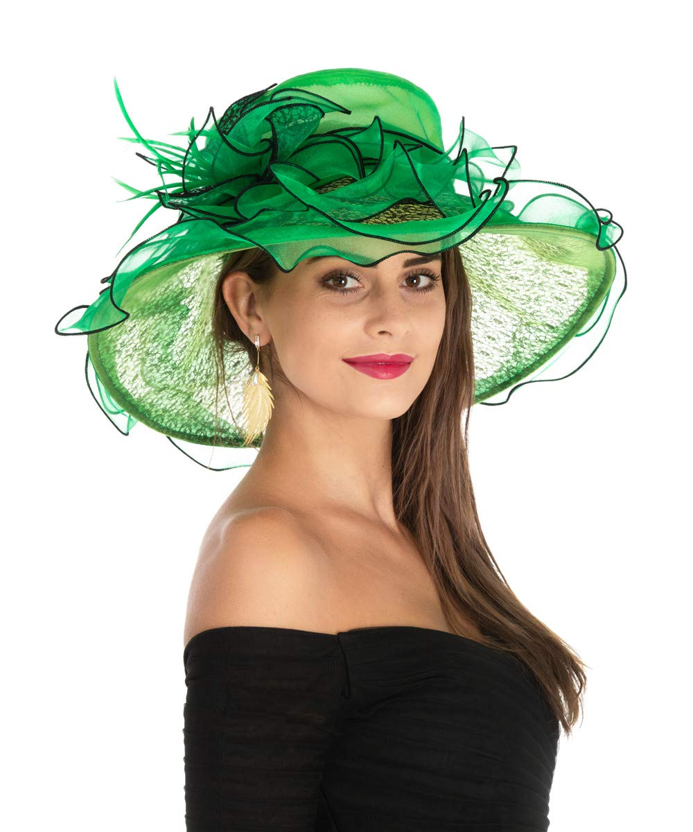 Lucky Leaf Women Kentucky Derby Church Beach Hat Wide Floral Brim Flat Hat with Bowknot (Lace Black/Green)
