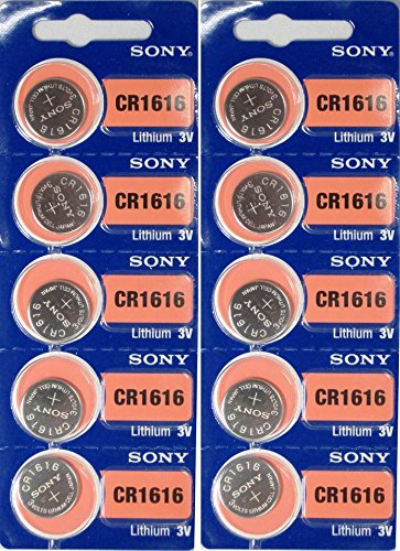 10 Sony Lithium 3V Batteries Size CR1616 (2 Packs of 5)