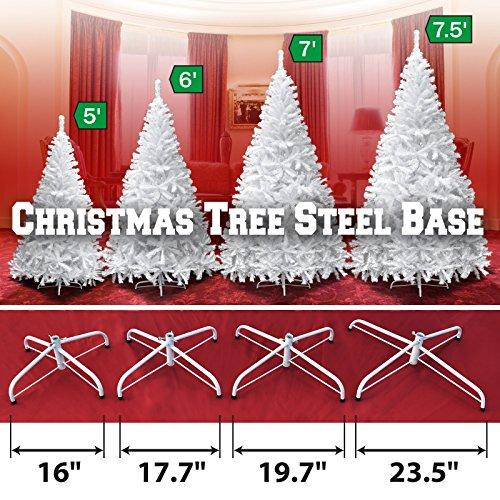 Steel Base Metal Stand for 5/6/7/7.5ft Christmas Tree Green Christmas Decor (7', White) by BenefitUSA (Image #2)