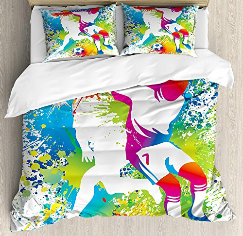 Youth 4 Piece Bedding Set Twin Size, Football Players with a Soccer Ball and Colorful Grunge Splashes Competition Sports, Duvet Cover Set Quilt Bedspread for Childrens/Kids/Teens/Adults, Multicolor by Anzona