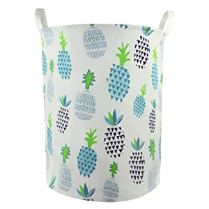Orino 19 x 16.5 Inches Extra Large Canvas Fabric Folding Storage bin with Handle Waterproof Home Decor Laundry Hamper Organize Pineapple Storage Baskets for Dirty Clothes, Toy (Blue)