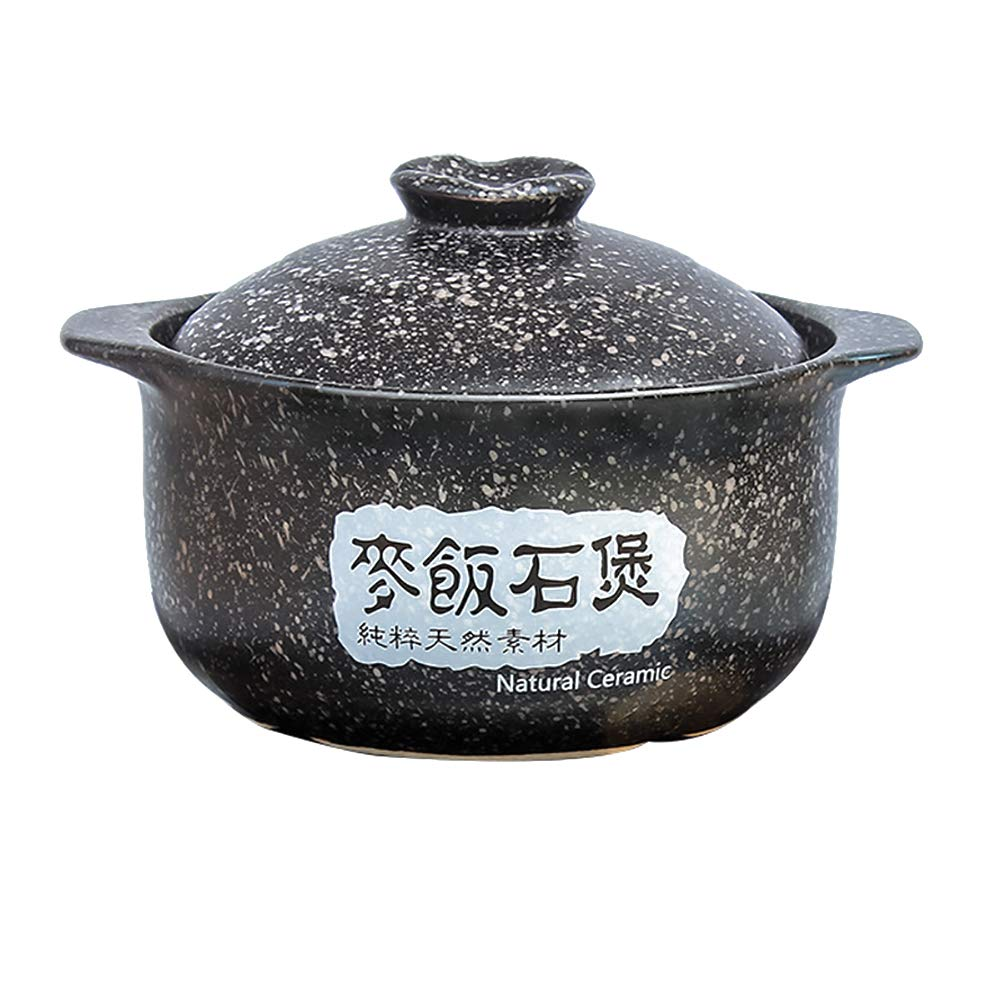 CCSU Not-Stick Stockpot,Ceramic Heat-Resistant Maifan Stone Soup Hot Pot for Slow Cooking Bibimbap Casserole Black 2.1quart
