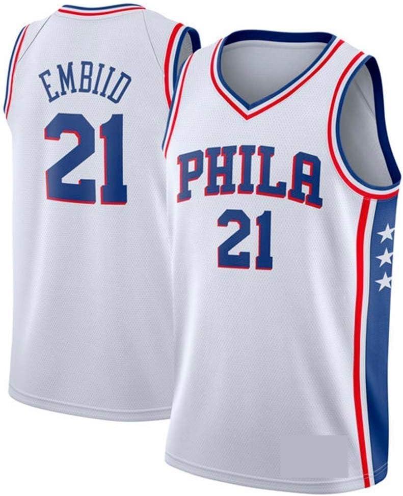 WOLFIRE SC Camiseta de Baloncesto para Hombre, NBA, Philadelphia 76ers 21# Joel Embiid. Bordado, Transpirable y Resistente al Desgaste Camiseta para Fan: Amazon.es: Deportes y aire libre