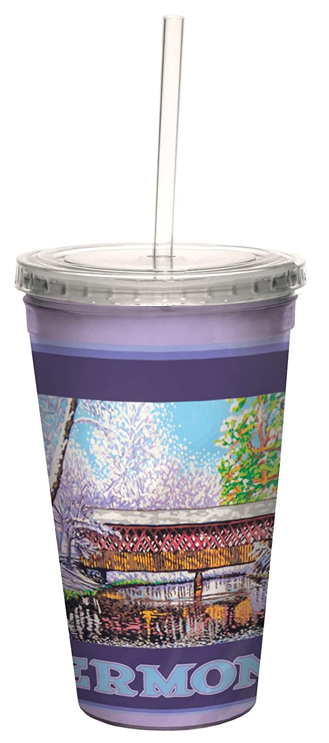 Tree-Free Greetings cc33019 Scenic Vermont Covered Bridge in Winter by David Linton Artful Traveler Double-Walled Cool Cup with Straw, 16-Ounce
