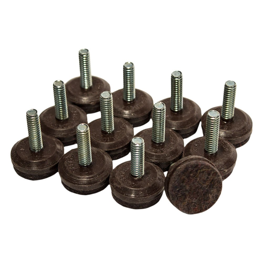 "1/4-20, 1"" Diameter Felt Levelers - Brown, 16 Pieces"