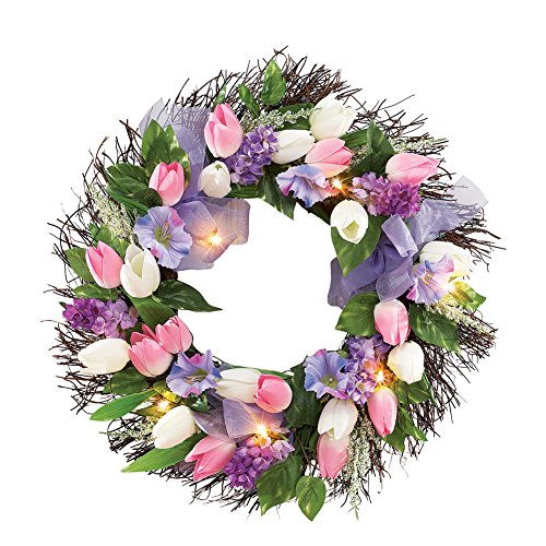 Pre-lit Spring Tulip Grapevine Twig Wreath for Front Door (Pre Twigs Lit)