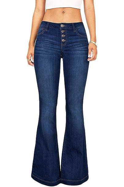 87dd925b0 Suvimuga Las Mujeres De Baja Altura Jeans Pantalones Largos Damas Denim  Pantalones Acampanados Pantalones De Campana  Amazon.es  Ropa y accesorios