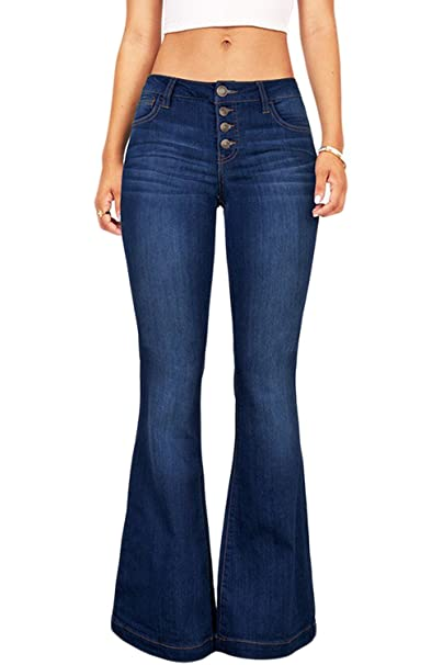 Suvimuga Las Mujeres De Baja Altura Jeans Pantalones Largos Damas Denim Pantalones Acampanados Pantalones De Campana