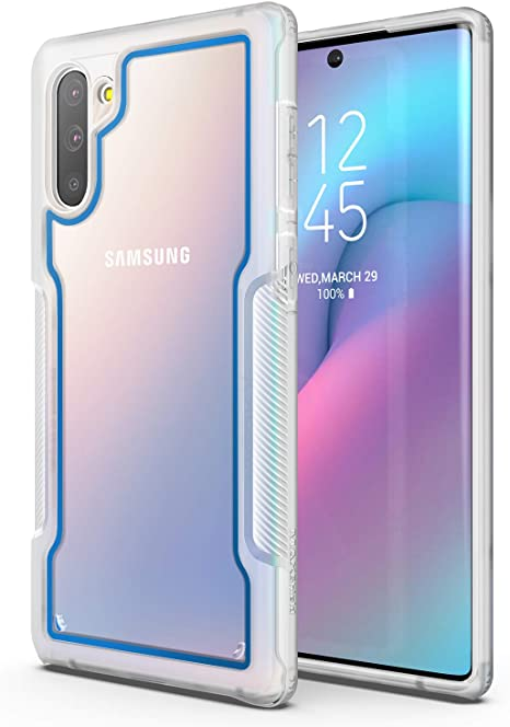 MAXSHIELD Compatible with Galaxy Note 10//Note 10 5G Case, Razor X Series Premium Hybrid Protective Slim Clear Case for Galaxy Note 10//Note 10 5G-Blue