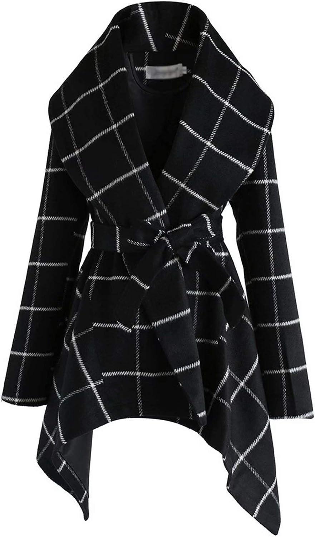 WUDUHUI Moda para Mujer otoño e Invierno Abrigo de Lana Nueva Abrigo Suelto Abrigo de Invierno Gabardina de Longitud Media para Mujer a Cuadros
