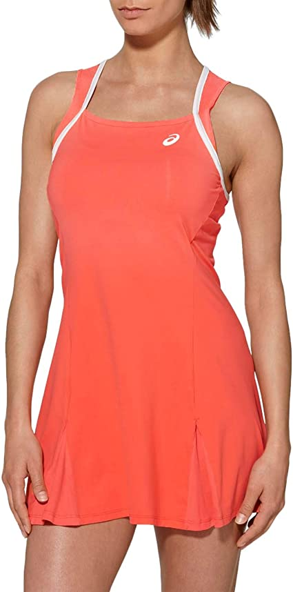 Coral Asics Womens Club Sleeveless Training Sports Active Tennis Dress Top