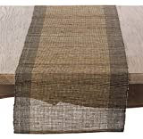 SARO LIFESTYLE Nubby Texture Border Design Woven Table Runner, 14'' x 72'', Natural