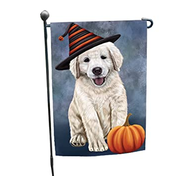 happy halloween golden retriever dog wearing witch hat with pumpkin garden flag