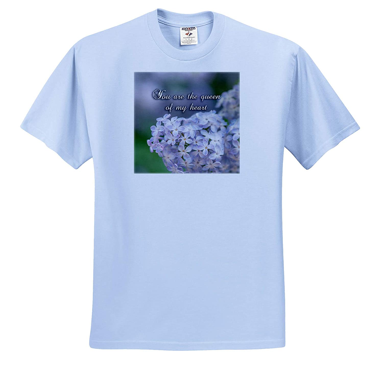 Tender Lilac Flowers T-Shirts 3dRose Alexis Design You are The Queen of My Heart Love Saying Sayings Love Valentine