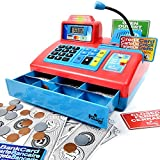large calculator cash register - Ben Franklin Toys Talking Toy Cash Register - store learning play set with 3 languages, paging microphone, credit card, bank card and play money