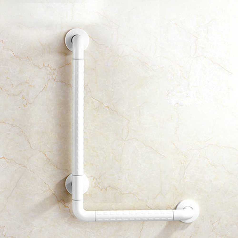 MDRW-Bathroom Handrail Barrier-Free And Bathrooms L-Armrest Nylon Older Persons With Disabilities Auxiliary Armrest 700400Mm White