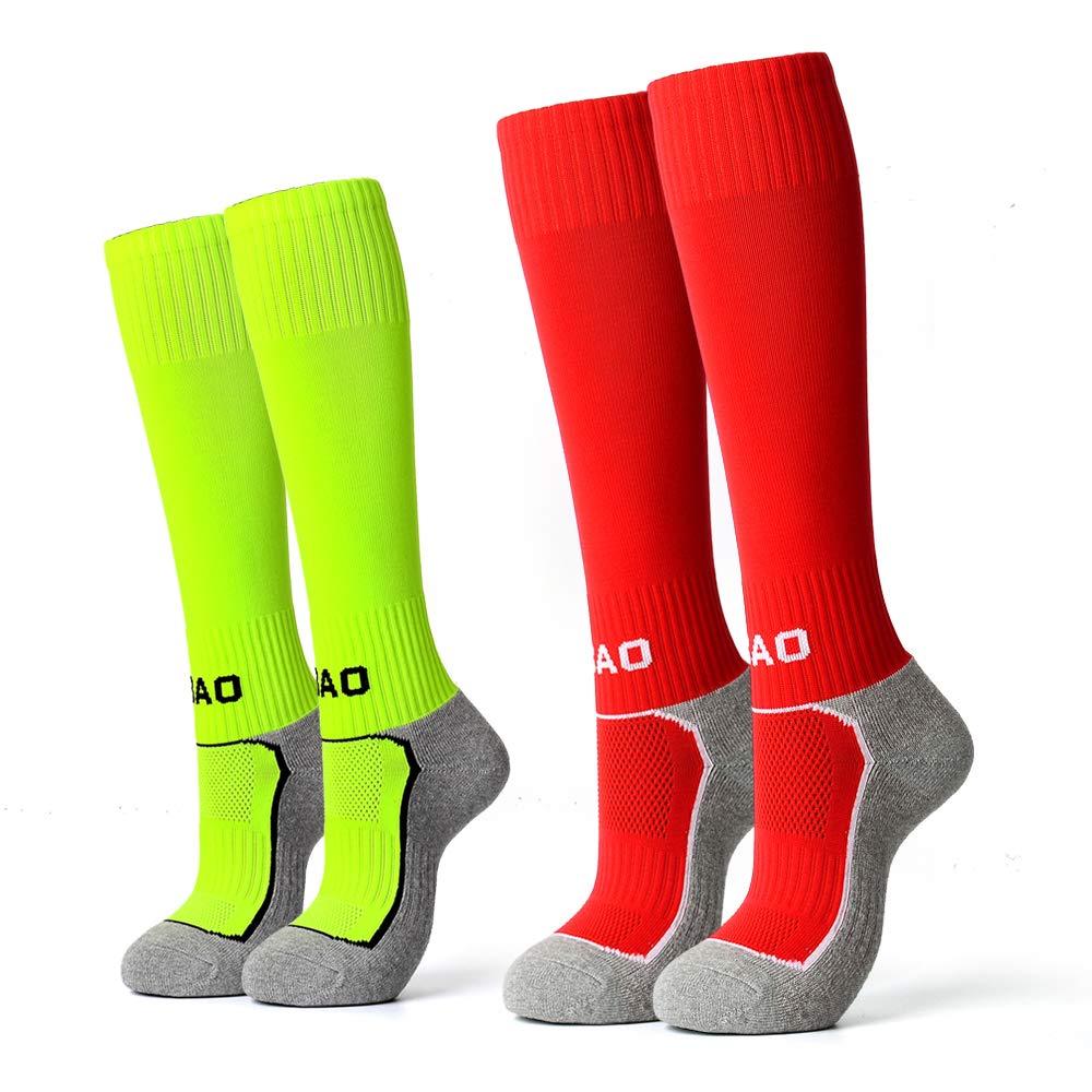 2 Pairs Kids Soccer Socks Boys Girls High Tube Long Knee Athletic Football Socks 4-13 Years Little Kid/Big Kid (1Light green & 1Red, 32-37) ... by AII