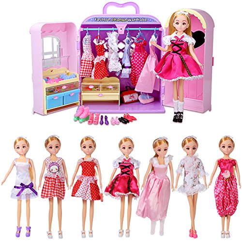 BFOEL Pink Doll Furniture--Fashionistas Ultimate Dream Dress Closet for Girls,Pretend Play Princess Dolls Wardrobe With with Dresses Shoes and Multi Dress Up Accessories--Girls Birthday Christmas Gift
