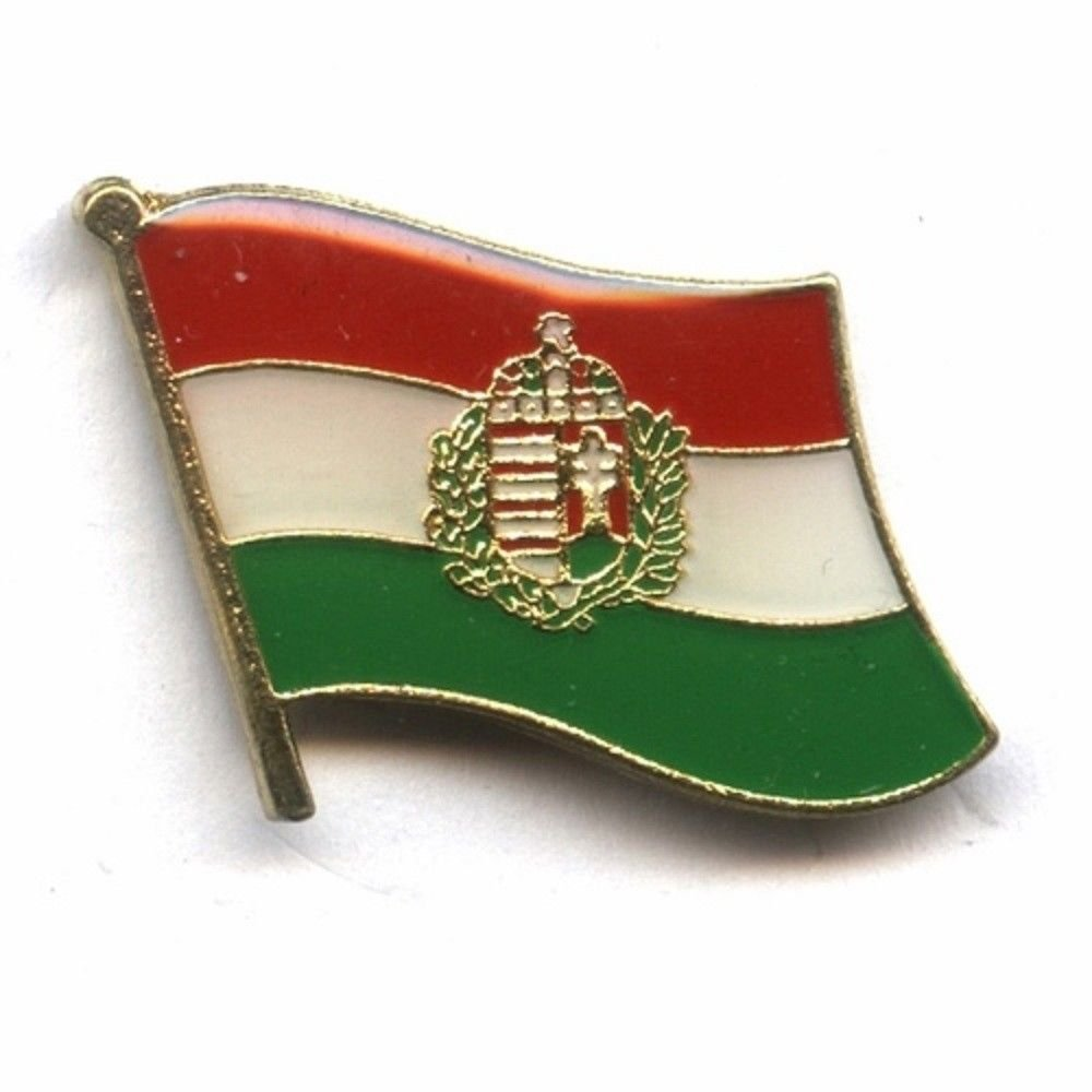 HUNGARY WITH CREST COUNTRY FLAG SMALL LAPEL PIN BADGE ... NEW SUPERDAVES SUPERSTORE