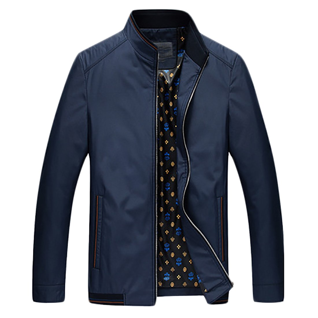 Nanquan Men Plus Size Zip-up Stand Collar Lightweight Faux Fur Lined Fleece Jackets