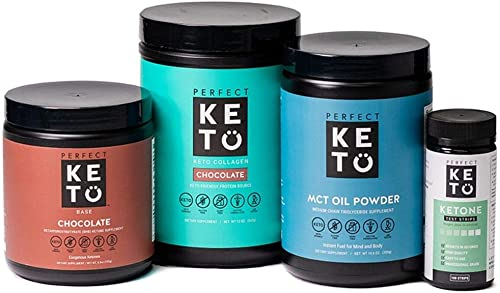 Perfect Keto Starter Bundle for Ketogenic Diet – Best to Burn Fat and Support Energy – Exogenous Ketone Base, MCT Oil Powder, Grass-Fed Keto Collagen and Ketone Testing Strips Chocolate