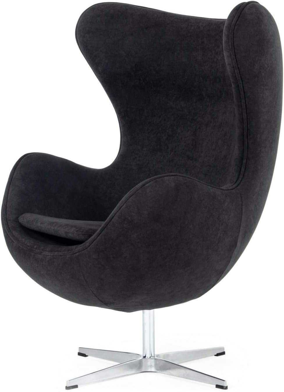 Limari Home Simeon Collection Modern Style Fabric Upholstered Accent Chair with Piped Seams and Swivel Base, Black